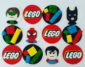24 x Superhero lego fondant Cupcake Toppers - birthday party