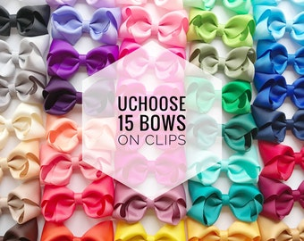 15 Hair bows on clip UCHOOSE, hair bows, bow bundle, toddler bows, baby bows, girls bows, clip bows, cheap hair bows, hair bow set, bow clip