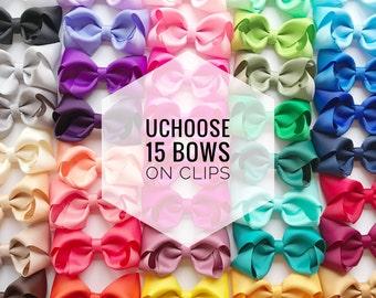 15 Hair bows on clip UCHOOSE, hair bows, bow bundle, toddler bows, baby bows, girls bows, clip bows, cheap hair bows, hair bow set, bow clip