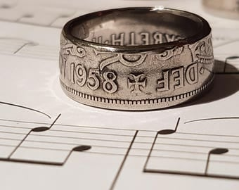 Coin Ring Half Crown  - Hand Crafted 1958 - Size T 1/2
