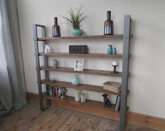 Super chunky reclaimed wall unit/bookshelf with chunky steel frame