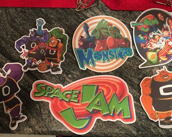 6  Diecuts space jam and 12  cupcake toppers