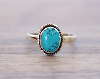Turquoise ring, silver ring, 92.5 solid sterling silver ring, Natural Turquoise Silver Ring, 92.5% sterling silver (custom size, your size)