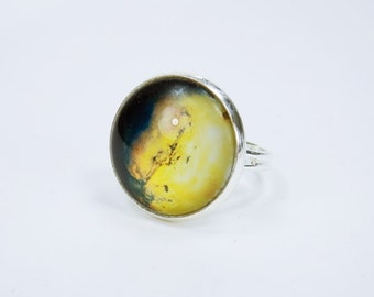 Ring Neptune - planet delicate yellow cabochon in silver-coloured version of ring finger jewelry jewelry yellow black planet