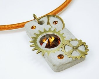 Necklace glamour steampunk sparkly Brown bronze rhinestone stone concrete at the Brown Silk Ribbon gears concrete jewelry
