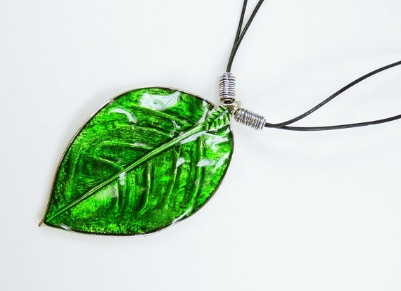 Necklace Green leaf on double black leather strap leaves enamel in green metallic leaf, tree of life, jewelry neck jewelry
