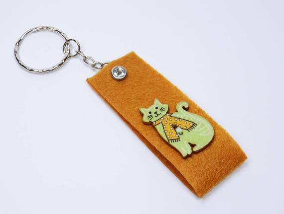 Key ring brown with green cat and rhinestone stone pocket pendant pendant keychain for keychain, cats