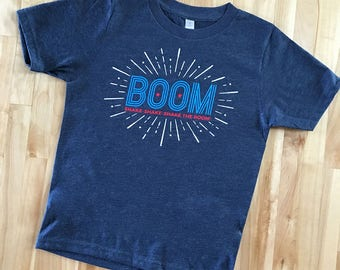 Boom Shake-Shake-Shake The Room T-shirt  |  4th of July Fireworks T-shirt  |  America, 'Merica, Stars and Stripes, Red, White, Blue T-shirt