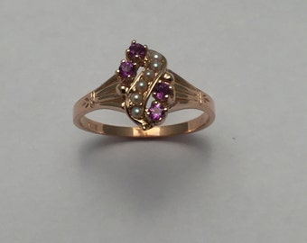 Style# 108-14 Ky Yellow Gold antique ring set with four 2mm round genuine Amethyst and half pearls