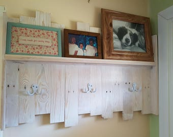 Reclaimed Wooden Coat Rack with Photo Shelf