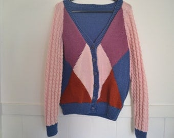 Cardigan Hand Knitted // Cable knit // geometric // multi colour // Size 8 - 10 // Made in Australia // Button Down V-neck