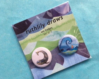 Whale and Boat Badges- 2 badge set- illustrated by Ruth Lillian Foulis- 25mm Badges
