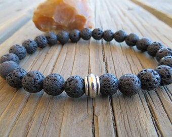 Mens Lava stone bracelet, Lava beads, Men bracelet, Meditation mala beads, Protection bracelet, Male jewelry, Buddha bracelet mala