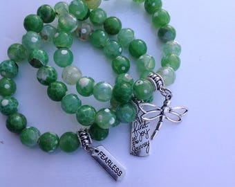 Green, stackable bracelets, arm candy, charms