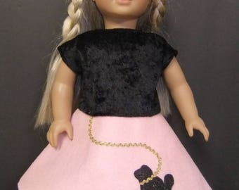"Pink Felt Poodle Skirt & black  stretch Top to fit 18"" American Girl Doll"