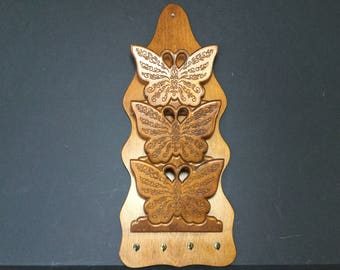 Butterfly Mail Organizer, Key Rack, 70s Wall Hanging Wood Mail Holder and Key Rack