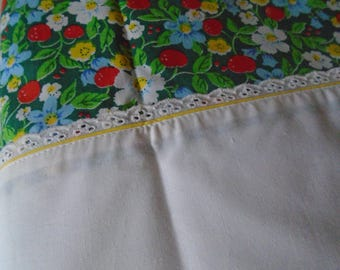 Utica double bed set floral strawberries ,broderie anglais trim