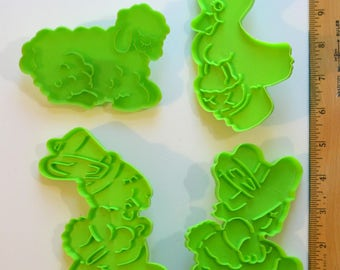 4 Large WILTON EASTER COOKIE Cutters | 1976 Girl & Boy Bunny Lamb Duck