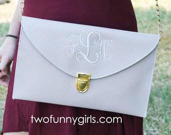 Envelope Cross Body Clutch Purse with Monogram {Putty-Grey}