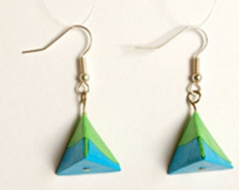 Earrings origami pyramid blue/green