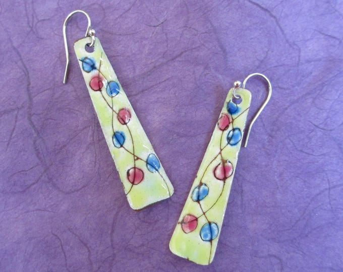 Torch fired yellow sgraffito enamel dangle droop earrings with blue and raspberry circles on sterling silver ear wires