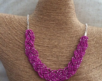 Magenta necklace, magenta braided bib, pink bib necklace, magenta bridesmaids, statement necklace, beaded necklace, magenta bridal party,