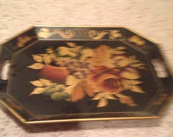 Vintage large serving tray marked and painted in russia