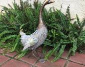 Goose Life Size Garden Art Patina Brass Metal Geese Yard Decor, Goose Copper Statue, Item #475603528