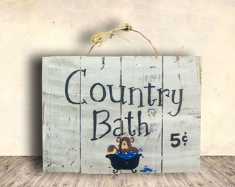 Bear Sign - Cabin Wall Art - Bath Sign - Bathroom Sign - Cabin Decor - Bear - Country Bath Sign - Birthday Gift - Mother's Day Gift