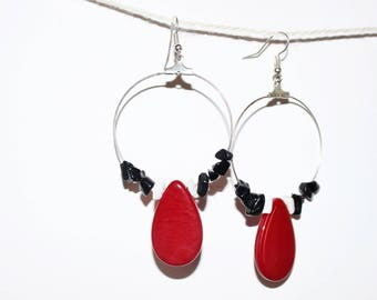 "Earrings rings dangling - black & red - organic - model ""Naomi 5 Burgundy"""