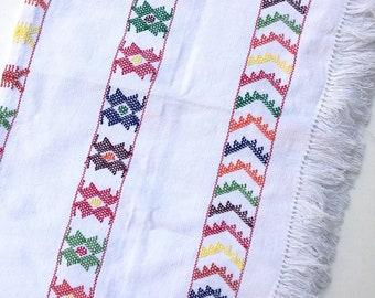 Boho Style Multi Color & White Mexican Linen, Tribal Design, Hand-Loomed, Fringe Detail, Cotton Boho Fabric