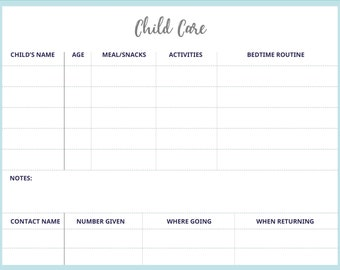 Child Care Notes, PDF Instant Download