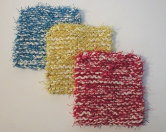 """Handmade Dish Scrubbies Scrubbers, Multi-Color 3-Pack with Medium Blue, Yellow, Red, 4-1/2"""" (#6410)"""