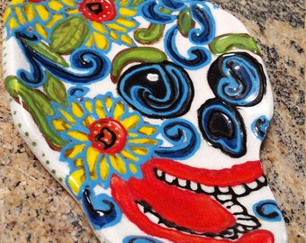 Sugar Skull/Day of the Dead/Spoon Rest/Wall Decor/Serving Tray/Cheese Board/olive tray