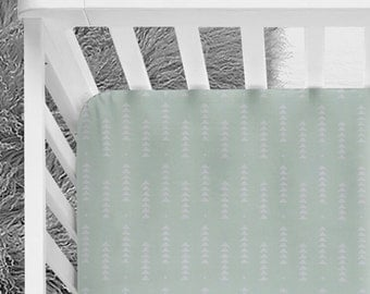Light mint green falling white arrows triangle geometric pattern baby fitted crib sheet gender neutral nursery baby nursery tribal bedding