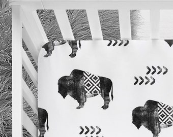 Buffalo, Tribal baby bedding, Aztec crib sheet, buffalo baby bedding, baby boy,  Baby bedding, Baby boy, arizona, animal, buffalo nursery