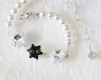 Edelweiss crystal and pearl bracelet