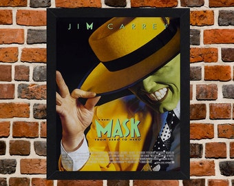 Framed The Mask Jim Carrey Movie / Film Poster A3 Size Mounted In Black Or White Frame