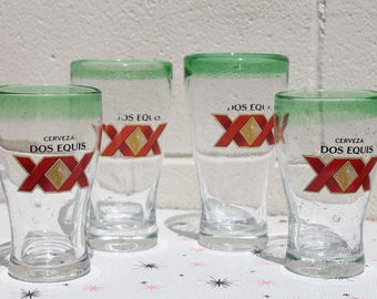 Vintage Dos Equis Mexican Beer Hand Blown Drinking Glasses Set of 4