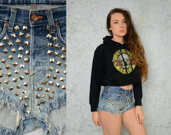 """Studded Shorts Ombre Cutoff denim jean frayed ripped woman L large size 32"""" waist"""