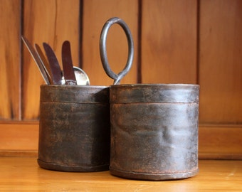 Handmade Rustic Iron Dual Caddy, Kitchen Organiser, Cutlery Holder with Handle