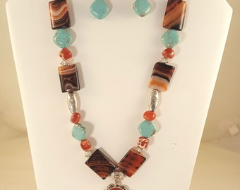Amber Pendant on Sardonyx, Agate and Magnesite Necklace and Earrings Set