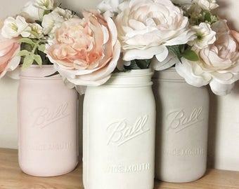Painted Mason Jars, Painted Mason Jar Sets, Painted Mason Jars for Kitchen, Pink Mason Jars, Pink Mason Jar Centerpieces, Pink Jar Decor