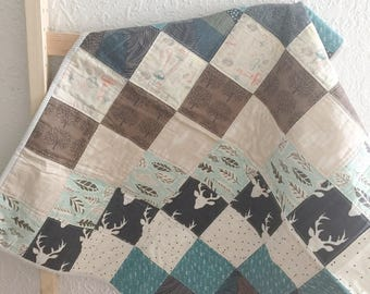Modern Baby Quilt, Woodland Baby Quilt, Patchwork Quilt, Baby Quilt Blanket, Baby Quilt For Sale, Baby Bedding, Rustic Nursery