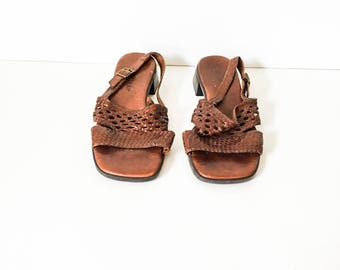 Sandals - Leather woven sandal 8W - Brown leather sandal - Leather slingback sandal - Trotters sandals - Boho Sandals