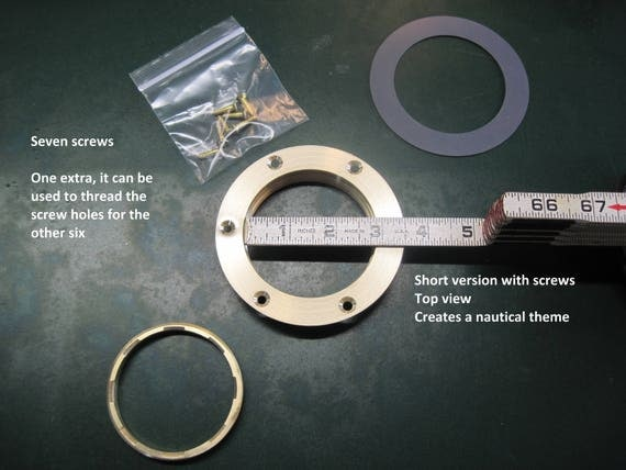 "3"" Opening, Nautical, Solid Brass Threaded Ring Inserts, Short Lid Plug with Screws,"
