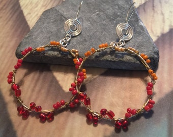Red & Gold seed bead hoop/drop earring