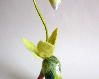 Mandrake, felted wool, face earthenware