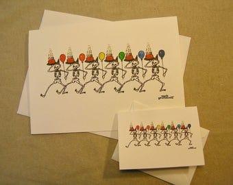 Grateful Dead Birthday Card. Dancing Skeletons. Regular size and mini-version. A Lunar Eclipse cartoon birthday card.