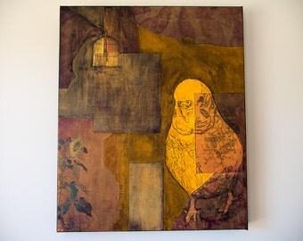 Budgie art, Large Wall Art, Original painting, Orange Art, Mixed Media art, Bird art, Budgerigar art, Parakeet art, Art Sale